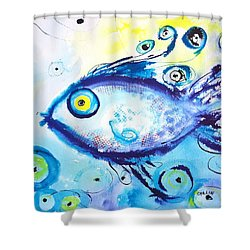 Good Luck Fish Abstract Shower Curtain by Carlin Blahnik