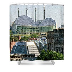 Good Morning Kansas City Skyline Painterly Shower Curtain by Andee Design
