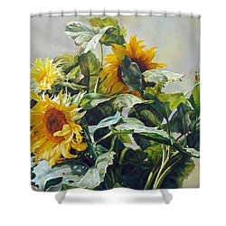 Shower Curtain featuring the painting Good Morning - Sunflower In Love by Svitozar Nenyuk