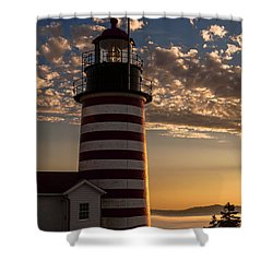 Good Morning West Quoddy Head Lighthouse Shower Curtain by Marty Saccone