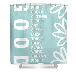 Good Things Blue Shower Curtain by Linda Woods