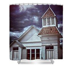 Good Vs Evil Shower Curtain by Ellen Heaverlo