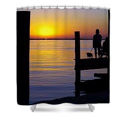 Goodnight Sun Shower Curtain by Karen Wiles