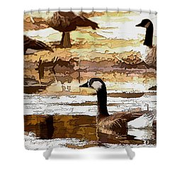 Goose Abstract Shower Curtain