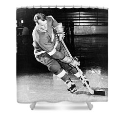 Gordie Howe Skating With The Puck Shower Curtain by Gianfranco Weiss