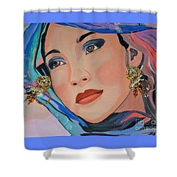 Gorgeous Lady With Beautiful Earrins Shower Curtain