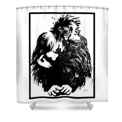 Shower Curtain featuring the drawing Gorilla Ina Box by Paul Davenport