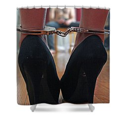 Shower Curtain featuring the pyrography Got Cuffs by Shoal Hollingsworth