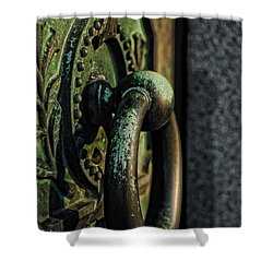 Goth - Crypt Door Knocker Shower Curtain by Paul Ward