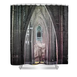 Gothic Arches Hands Folded In Prayer Shower Curtain