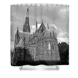 Shower Curtain featuring the photograph Gothic Church In Black And White by John Telfer