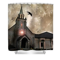 Gothic Surreal Haunted Church And Steeple With Crows And Ravens Flying  Shower Curtain by Kathy Fornal