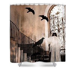 Gothic Grim Reaper With Ravens Crows - Spooky Haunting Surreal Gothic Art Shower Curtain by Kathy Fornal