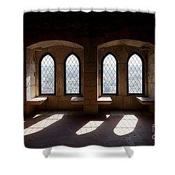 Gothic Windows Of The Royal Residence In The Leiria Castle Shower Curtain by Jose Elias - Sofia Pereira