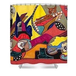 Gotta Go Shower Curtain by Dennis Davis