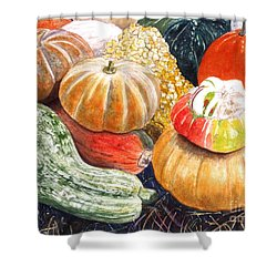 Shower Curtain featuring the painting Gourds by Carol Flagg