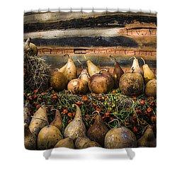 Gourds Shower Curtain by Debra and Dave Vanderlaan