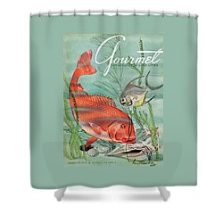 Gourmet Cover Featuring A Snapper And Pompano Shower Curtain by Henry Stahlhut