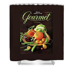 Gourmet Cover Featuring A Variety Of Fruit Shower Curtain by Romulo Yanes
