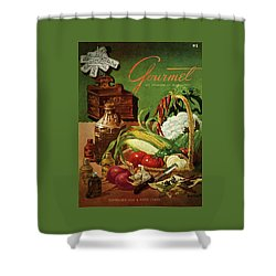 Gourmet Cover Featuring A Variety Of Vegetables Shower Curtain by Henry Stahlhut