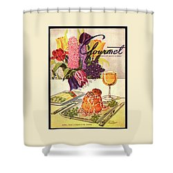 Gourmet Cover Featuring Sweetbread And Asparagus Shower Curtain by Henry Stahlhut