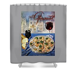 Gourmet Cover Illustration Of A Platter Shower Curtain