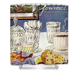 Gourmet Cover Illustration Of Cranberry Muffins Shower Curtain