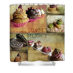 Gourmet Delights - Collage Shower Curtain by Barbara Orenya