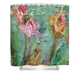 Shower Curtain featuring the painting Grace's Garden by Mary Wolf