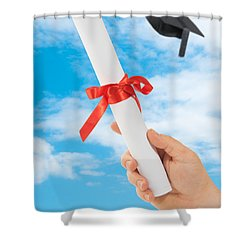 Graduation Scoll And Cap Shower Curtain by Amanda Elwell
