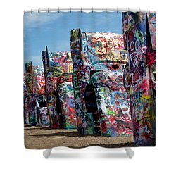 Graffiti At The Cadillac Ranch Amarillo Texas Shower Curtain by Mary Lee Dereske