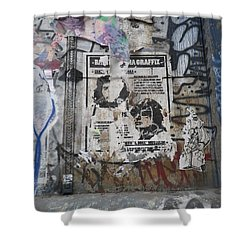 Graffiti In New York City Che Guevara Mussolini  Shower Curtain