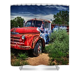 Shower Curtain featuring the photograph Grafitti Fire Truck by Ken Smith