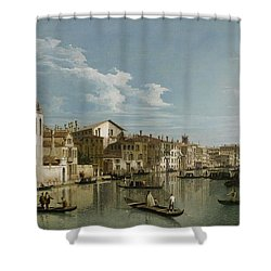 Grand Canal From Palazzo Flangini To Palazzo Bembo Shower Curtain by Canaletto