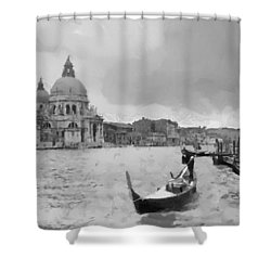 Shower Curtain featuring the painting Grand Canal Venice Italy by Georgi Dimitrov