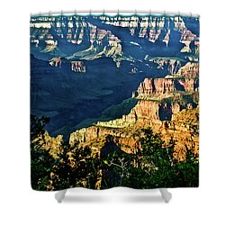 Shower Curtain featuring the photograph Grand Canyon  Golden Hour On Angel Point by Bob and Nadine Johnston