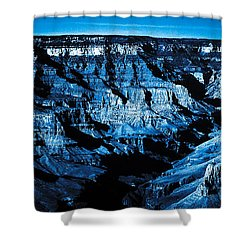Grand Canyon In Blue Shower Curtain by Bartz Johnson