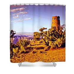 Shower Curtain featuring the painting Grand Canyon National Park Golden Hour Watchtower by Bob and Nadine Johnston