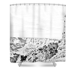 Grand Canyon National Park Mary Colter Designed Desert View Watchtower Black And White Line Art Shower Curtain by Shawn O'Brien