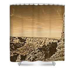 Grand Canyon National Park Mary Colter Designed Desert View Watchtower Rustic Shower Curtain by Shawn O'Brien