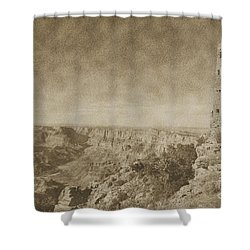 Grand Canyon National Park Mary Colter Designed Desert View Watchtower Vintage Shower Curtain by Shawn O'Brien