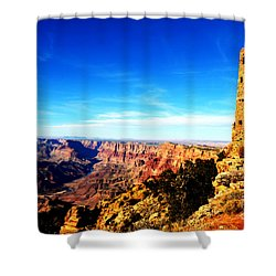 Grand Canyon National Park Mary Colter Designed Desert View Watchtower Vivid Shower Curtain by Shawn O'Brien