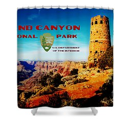 Grand Canyon National Park Poster Desert View Watchtower Retro Future Shower Curtain by Shawn O'Brien
