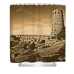 Grand Canyon National Park South Rim Mary Colter Designed Desert View Watchtower Rustic Shower Curtain by Shawn O'Brien