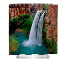 Shower Curtain featuring the painting Grand Canyon Waterfalls by Bruce Nutting