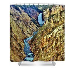 Shower Curtain featuring the photograph Grand Cayon Of The Yellowstone River by Benjamin Yeager