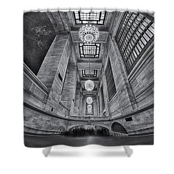 Grand Central Corridor Bw Shower Curtain by Susan Candelario