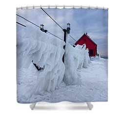 Grand Haven Lighthouse In Winter Shower Curtain