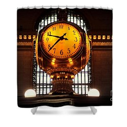 Grand Old Clock At Grand Central Station - Front Shower Curtain