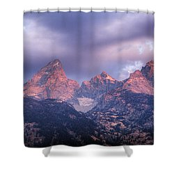 Shower Curtain featuring the photograph Grand Teton In Morning Clouds by Alan Vance Ley